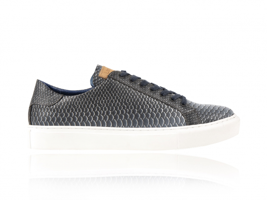 Venomo   Blauwe Slangenprint Sneakers   Lureaux